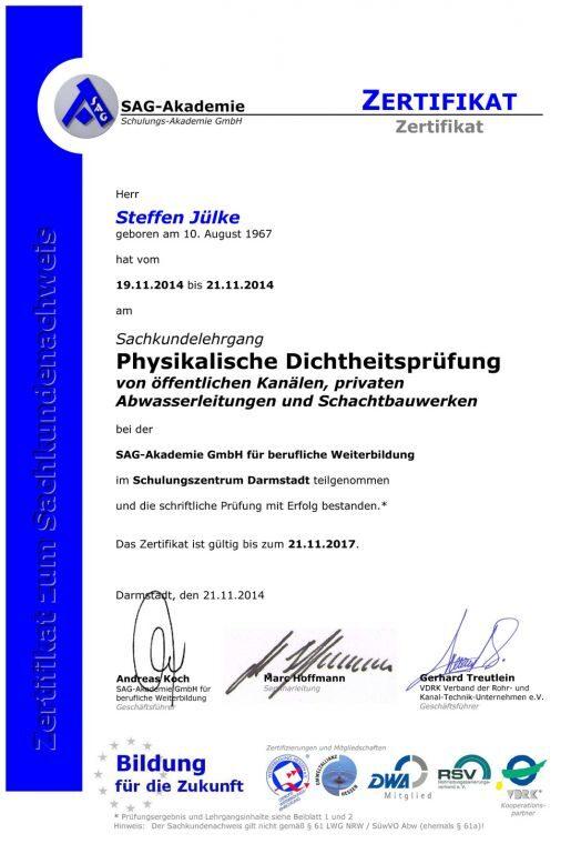 Zertifikat Physikalische Dichtheitsprüfung