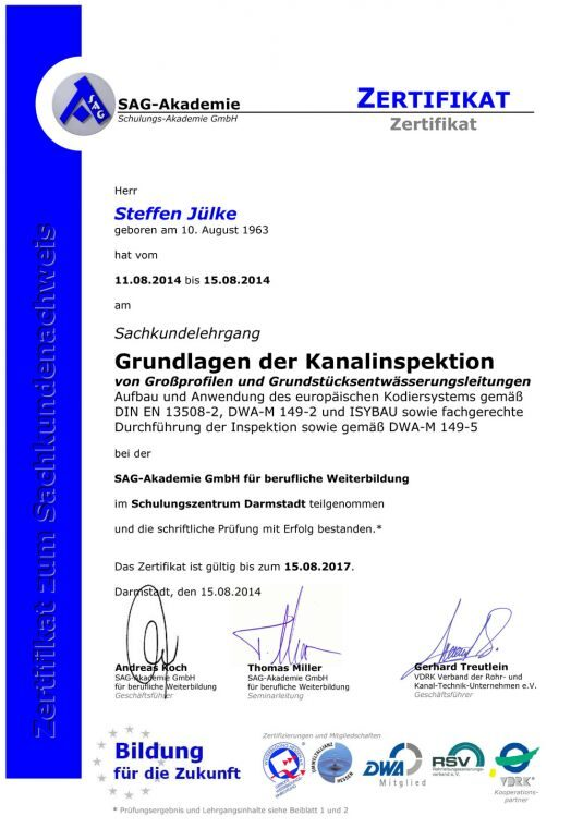 Zertifikat Grundlagen der Kanalinspektion